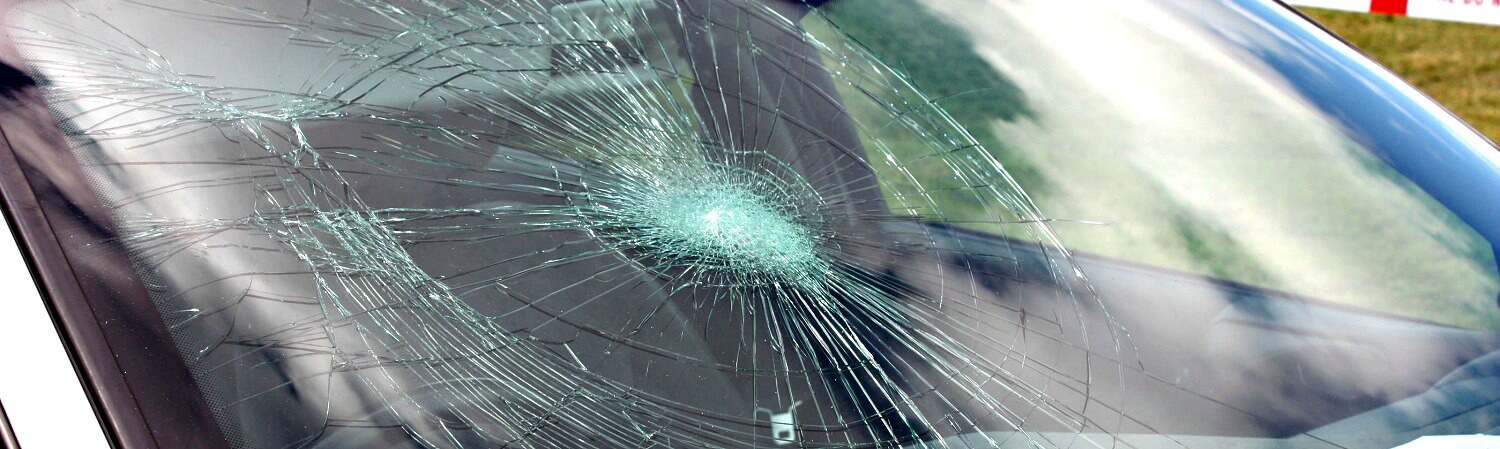 Side view image of shattered windshield