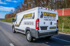 mobile auto glass repair Defender van rear view